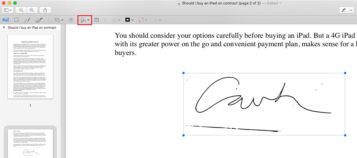 insert signatures in pdf