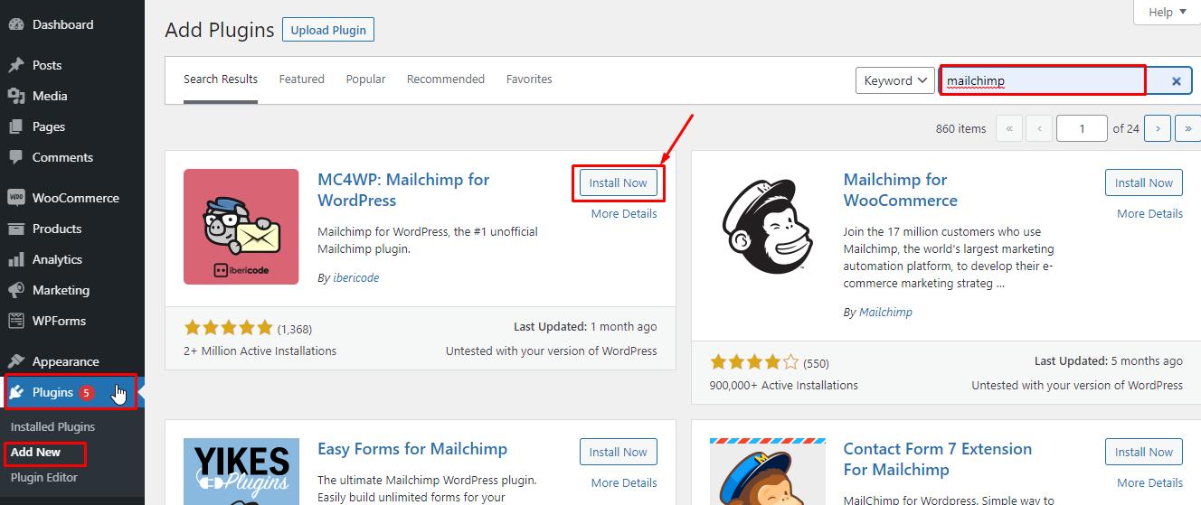install MailChimp to WordPress