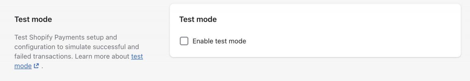 Shopify Test Mode