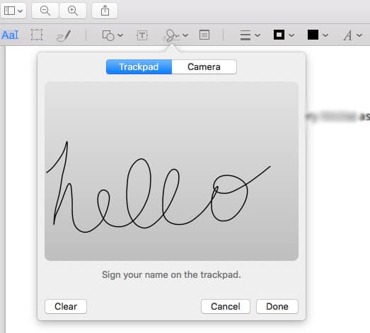 sign your name using Trackpad