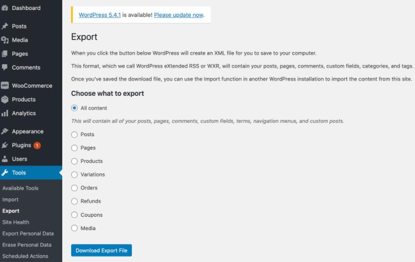 WooCommerce download export file