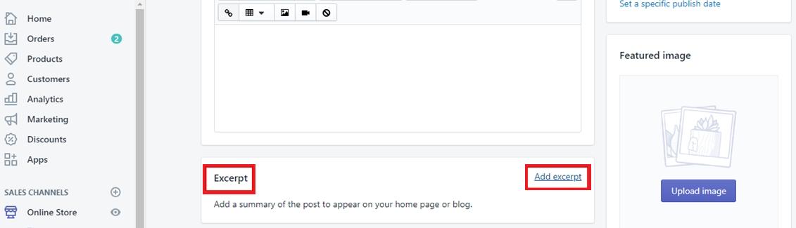 add Shopify blog excerpt