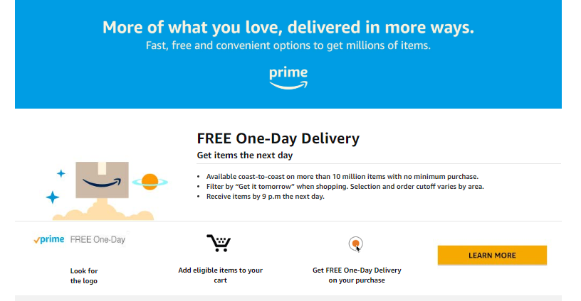 amazon free one-day delivery