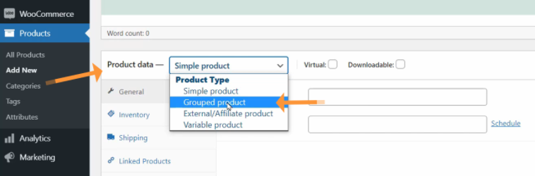 create WooCommerce grouped products
