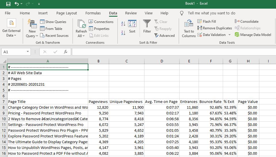 data displayed on Excel sheet