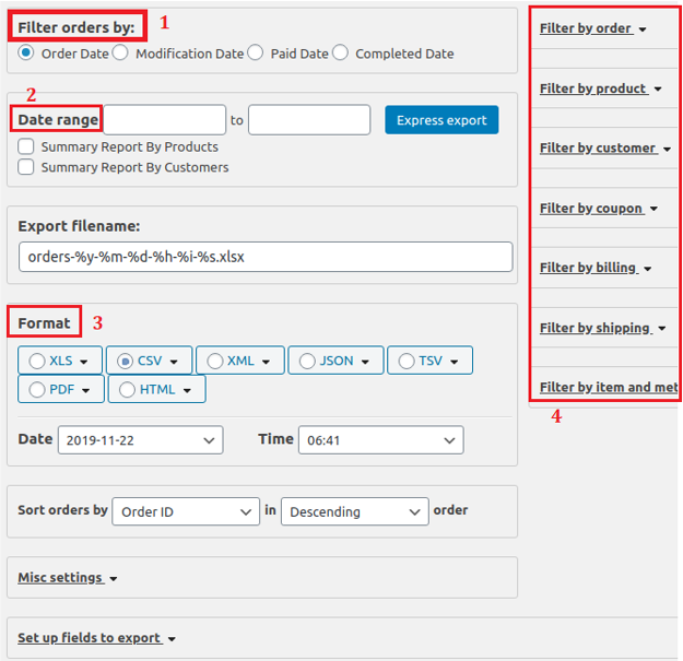 filter and export WooCommerce orders