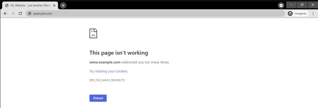 google chrome too many redirects error