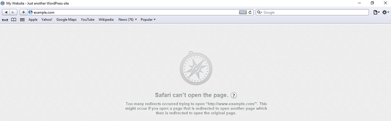 safari too many redirects error