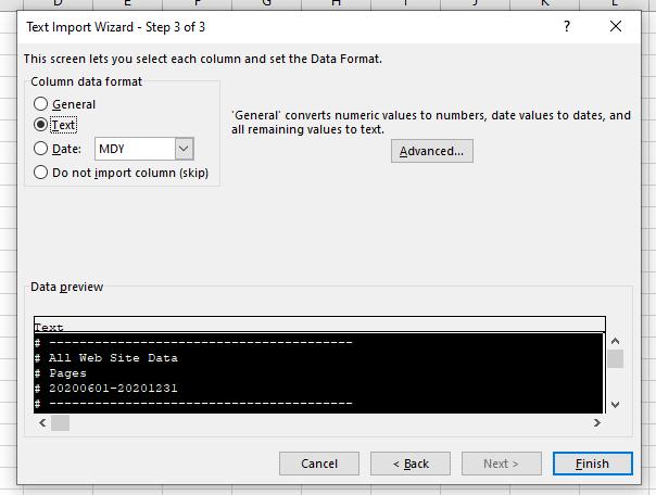 text column data format